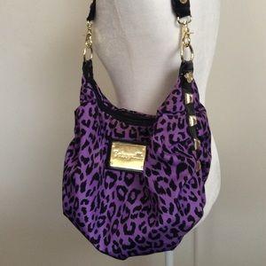Betsy Johnston Purple Leopard Studded Purse Bag